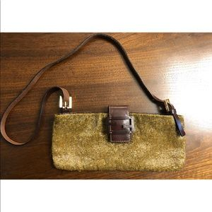 Fendi Bronze Beaded Leather Trim Shoulder Bag